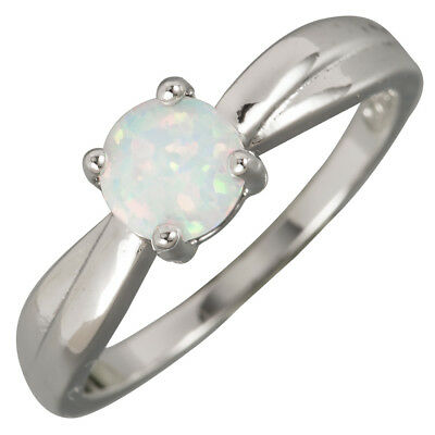 White Fire Opal 5.5 Round Cabochon Silver Jewellery Ribbon Ring UK Size L N P