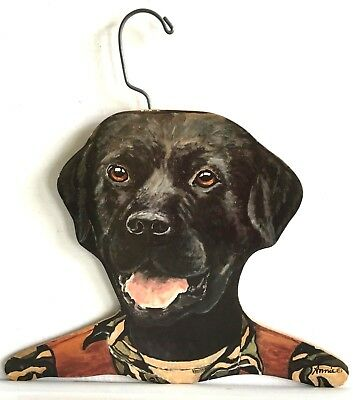 Orvis Advertising Black Lab Annie Wooden Clothes Hanger