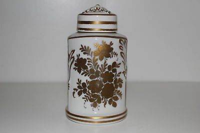 Vintage Hand Painted Paris France Porcelain Tea Caddy W/lid-Gold