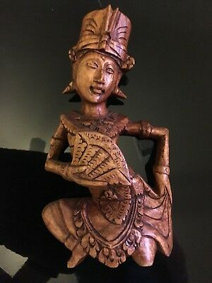 Vintage Graceful Woman Statue Hand Carved Wood Sculpture Bali Orig Art 12""