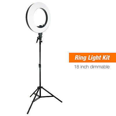 "18"" Dimmable Ring Light Photo Light Kit LED Brightness Control w/ Tripod Stand"