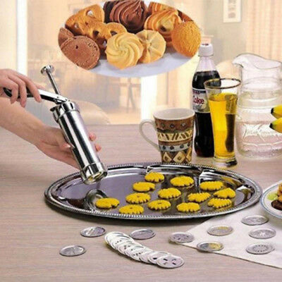 Pro Manual Aluminum Alloy Biscuit Maker Cookie Stamp Press Bakeware Cookie Tool