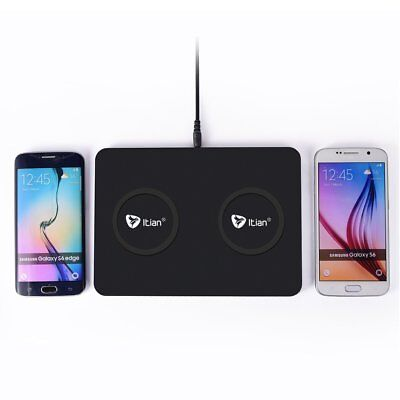 Q300 QI Wireless Charger Dual Fast Charging Dock Stand For iPhone X 8 Plus EA