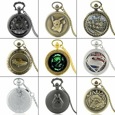 Antique Steampunk Pocket Watch Vintage Quartz Necklace Chain Pendant Retro Gift