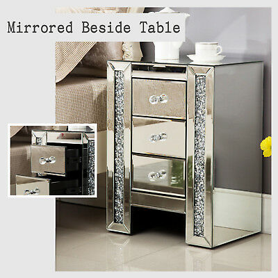 Modern Mirrored Gl Crystal 3 Drawer Bedside Cabinet Side Table Nightstand