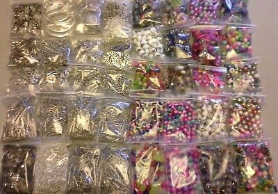 NEW Wholesale lot of 2 & 1/2lbs asst. glass beads & metal findings