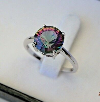 3ct Natural Mystic Topaz Solid 925 Sterling Silver Ring - sizes 7(O) 8(Q)