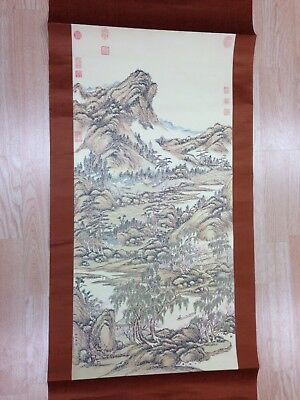 """Vintage 71""""long Asian Wall Hanging Paper on Silk Scroll/Signed/Seals/Lithograph?"""