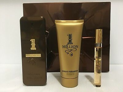 1 Million Prive Paco Rabanne Men Gift Set Edp Spray 3.4 Oz + Mini + Sh/g Nib