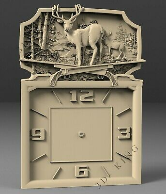 3D STL Model # WALL CLOCK DEER 2 # for CNC Aspire Artcam 3D Printer 3D MAX Rhino