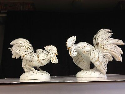 Large Vintage Pair of White Ceramic Fighting Roosters Made In Italy