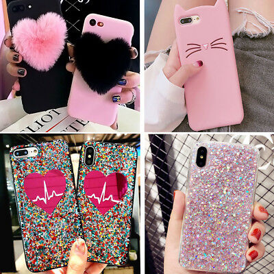 For iPhone 8 Plus 7 Plus XS Max XR Girl's Love Cute Protective Phone Case Cover