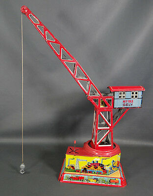 Antique German George Levy Gely #192 Drp Tin Toy Big Port Crane Wind Up Litho