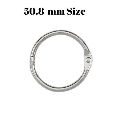 5 × 50.8 mm Metal Hinged Book Binder Rings - ScrapBook - Bright Nickel Plated