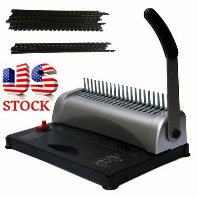 21-Hole 450 Sheets Paper Comb Punch Binder Binding Machine Scrapbook w/200 Combs
