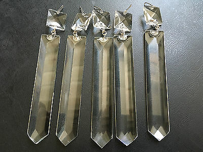 5 CLEAR 4'' Spear GLASS RECTANGULAR PRISM LUSTER CRYSTAL CHANDELIER PART HANGING