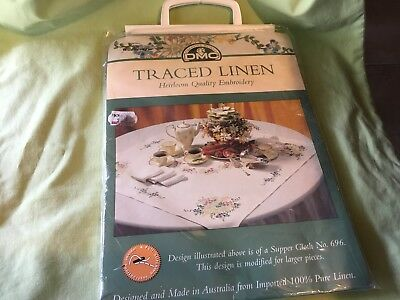 TRACED LINEN HEIRLOOM QUALITY EMBROIDERY - No 696 - NEW READY TO DO & COTTONS