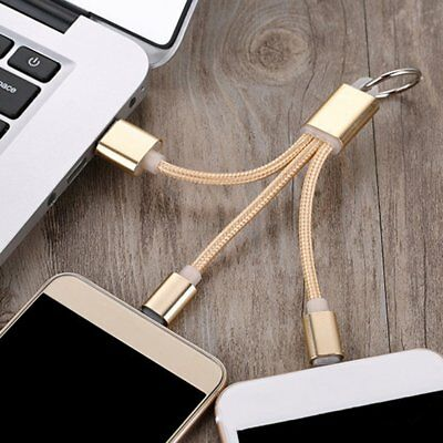 3 In 1 Braided USB Charger Cable Keychain Micro USB Type-C Charging Cable EA