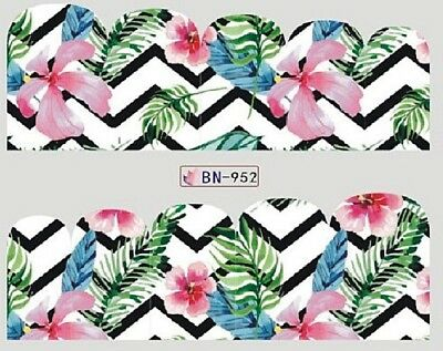 Nail Art Decals Transfers Stickers Jungle Pink Flowers (BN952)