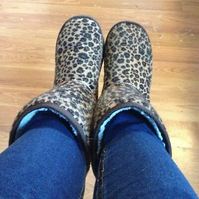 Women Girl Winter Warm Snow Mid-calf Leopard Boots Suede Fur Shoes Flat Lady OP