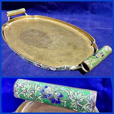 VINTAGE Antique SOLID BRASS CHINESE TRAY Cloisonne Enamel HANDLES Engraved Bats