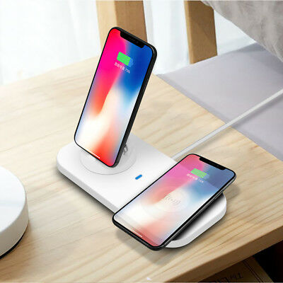 Qi Wireless Charging Dock Stand Mat Pad 3in1 USB Charger For iPhone X Samsung S9