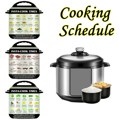 3Pcs Cooking Schedule Magnetic Cheat Sheet Food Cooking For Instant Pot