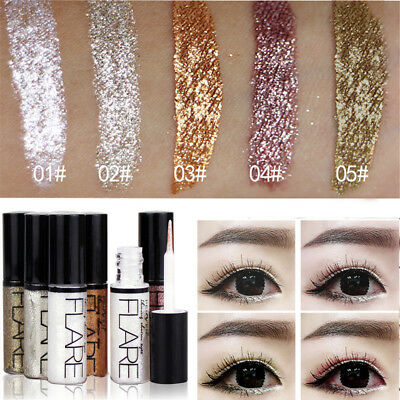 Metallic Shiny Eyeshadow Glitter Liquid Eyeliner Makeup Eye Liner Waterproof