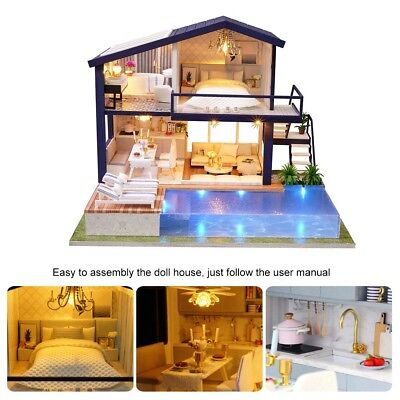 DIY LED Apartments Dollhouse Miniature Wooden Furniture Kit Doll House Gift