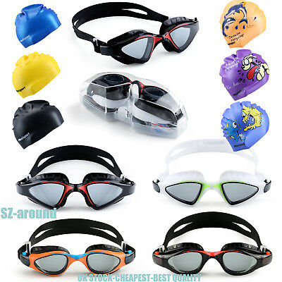 Anti Fog Swimming Goggles Swim Caps for Men Women Boys Girls Adult Junior Kids