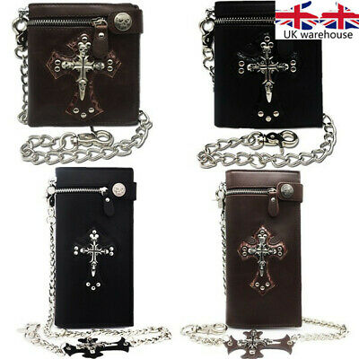 Short personality Gothic Cross Skull Leather Purse Money Clip zipper Wallets UK
