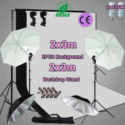 Studio Photo White Black 2x3m Screen Backdrop Light Stand Umbrella Lighting Kit