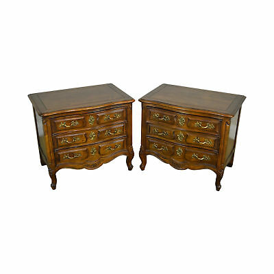 Henredon Villandry Collection Pair of Walnut Chests Nightstands