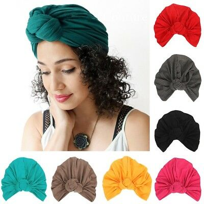 Women Lady Solid Color Knot Turban Hat Stretchy Indian Style Hair Head Wrap Cap