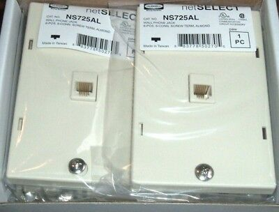 (2) NEW Wall Phone Jacks Almond 6-POS 6-Conductor Screw Term, HUBBELL NS725AL