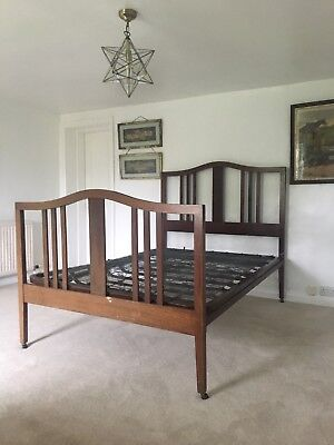 Antique Edwardian Mahogany Inlaid Double Bed Side Irons And Sprung Base