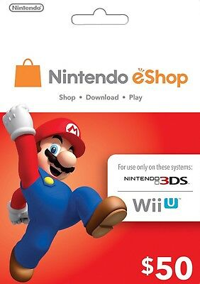 Nintendo $50 USD eShop Gift Card - Nintendo Switch/3DS/WiiU Digital Key [US]