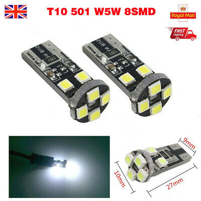 White T10 501 W5W 8 Smd Led Car Side Light Bulbs Error Free Canbus Xenon