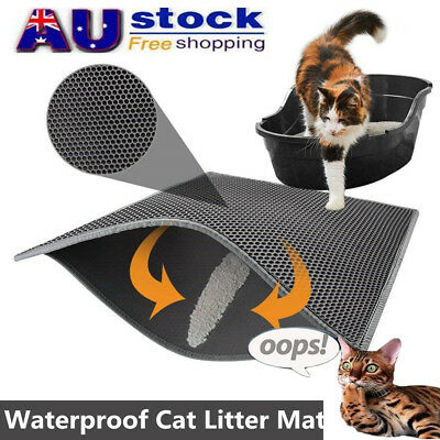 Waterproof Double-Layer Cat Litter Mat Trapper Foldable Pad Rug Home Comfort AU