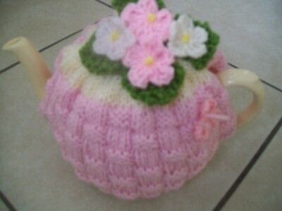 Hand Knitted Basket Weave Tea Cosy For A Medium Teapot 3-4 Cup Pot