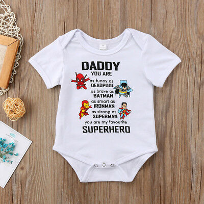 Brand New Superhero Boys Girls Romper Vest Babygrow Clothing Clothes Outfit