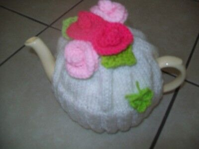 Hand Knitted Roses Tea Cosy For A Medium Teapot 3-4 Cup Pot
