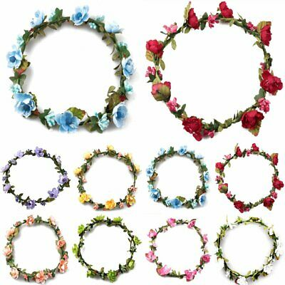 New Rose Flower Festival Headpiece Floral Garland Wedding Party Hair Headband KA