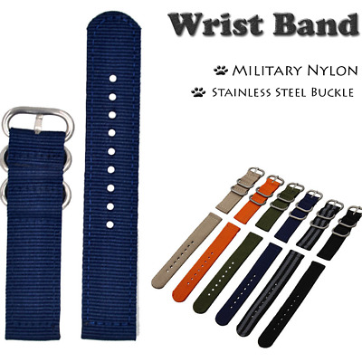 24mm Band Width Stainless Steel Buckle Military Nylon Wrist Band Strap For Watch