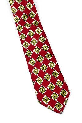 "HUGO BOSS Men's Neck Tie 100% Silk 58.5 x 3.5""  Red & Gold Geometric"