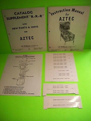 Williams AZTEC Pinball Machine 1976 ORIGINAL Instruction Manual Score Cards Lot