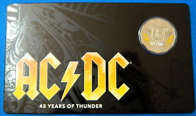 2018 50 Cent AC/DC Coloured Uncirculated Coin - 45 Years of Thunder