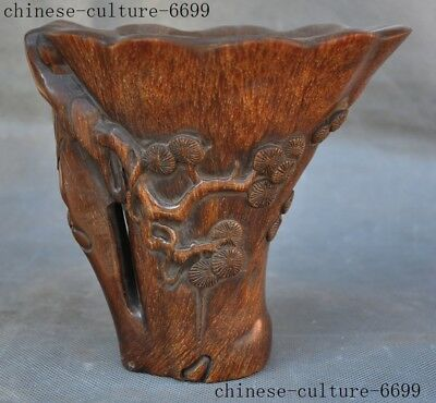 "6"" Rare antique chinese Old Ox horn carving Pine trees statue Oxhorns Goblet Cup"