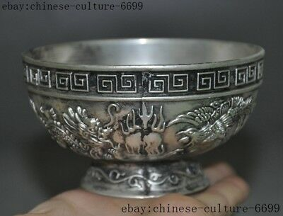 Chinese Dynasty Palace Tibetan silver Carving Dragon Phoenix statue Tea cup Bowl