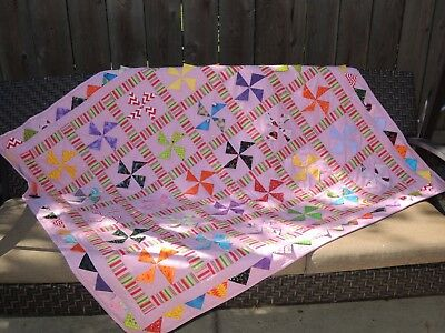 """New Pink Cute Dinos Handcrafted Baby Quilt 46"""" X 52"""""""